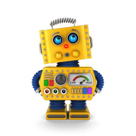Onschuldig uitziende speelgoed robot acteren alsof het niet zijn of haar schuld op een witte achtergrond.