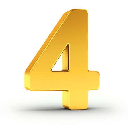 Die Zahl vier als polierte goldene Objekt auf weißem Hintergrund mit Pfad für eine schnelle und genaue Isolierung Clipping.
