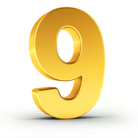 nine: The number nine as a polished golden object over white background with clipping path for quick and accurate isolation.