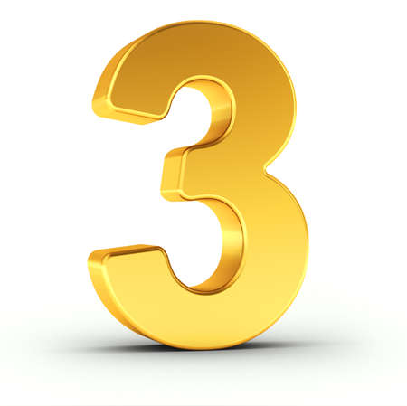 De nummer drie als een gepolijste gouden object op een witte achtergrond met clipping pad voor een snelle en accurate isolement. Stockfoto