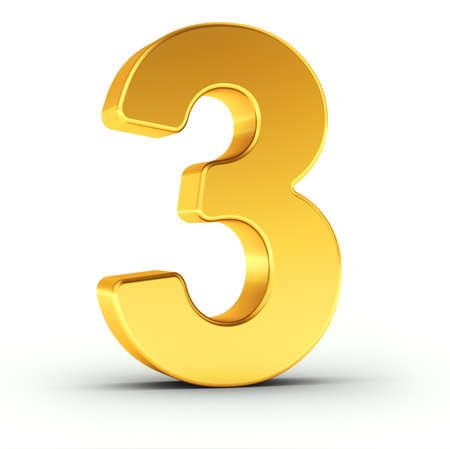 Die Nummer drei als polierte goldene Objekt auf weißem Hintergrund mit Pfad für eine schnelle und genaue Isolierung Clipping. Standard-Bild