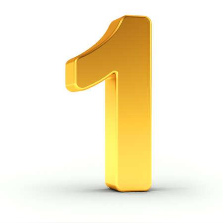 De nummer één als een gepolijst gouden object op een witte achtergrond met uitknippad voor snelle en nauwkeurige isolatie. Stockfoto