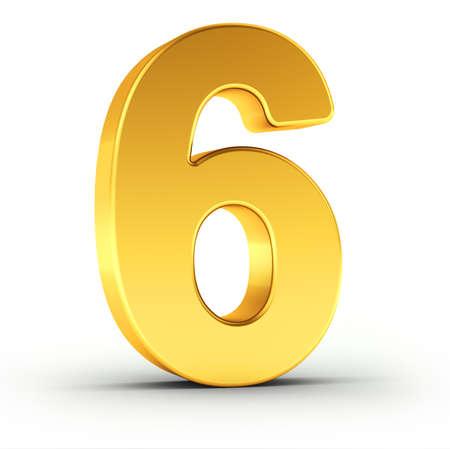 De nummer zes als een gepolijste gouden object op een witte achtergrond met clipping pad voor een snelle en accurate isolement.