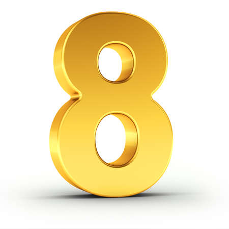 Il numero otto come un oggetto d'oro lucido su sfondo bianco con un tracciato di ritaglio per l'isolamento rapido e preciso.