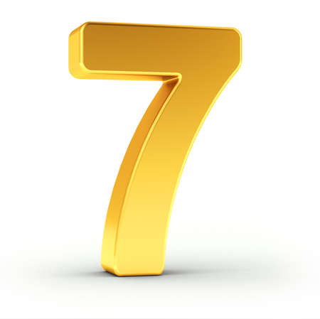 number 7: The number seven as a polished golden object over white background with clipping path for quick and accurate isolation.