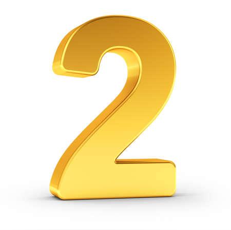 Die Nummer zwei als polierte goldene Objekt auf weißem Hintergrund mit Pfad für eine schnelle und genaue Isolierung Clipping.