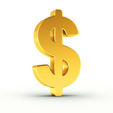 dollars: The Dollar symbol as a polished golden object over white background with clipping path for quick and accurate isolation.