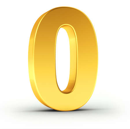 The number zero as a polished golden object over white background with clipping path for quick and accurate isolation.