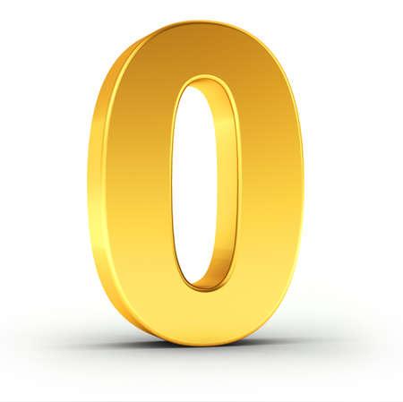 Het getal nul als een gepolijste gouden object op een witte achtergrond met clipping pad voor een snelle en accurate isolement.