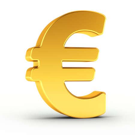 迅速かつ正確な分離のクリッピング パスと白い背景上洗練された黄金オブジェクトとしてユーロ通貨記号。