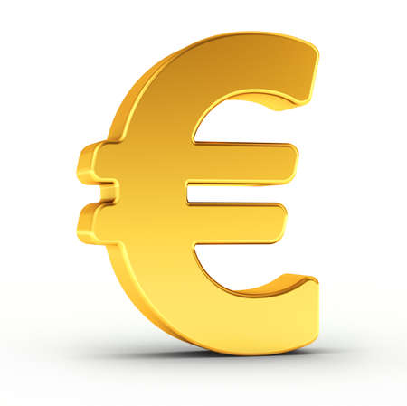 currencies: The Euro symbol as a polished golden object over white background with clipping path for quick and accurate isolation. Stock Photo