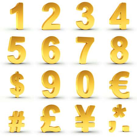 Reeks gouden cijfers en valuta symbolen op witte achtergrond met het knippen van weg voor elk item voor snelle en nauwkeurige isolement.
