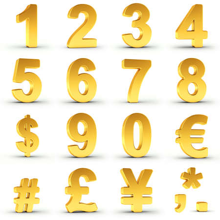 Set goldene Zahlen und Währungssymbole auf weißem Hintergrund mit Pfad für eine schnelle und genaue Isolierung für jedes Element Clipping. Standard-Bild