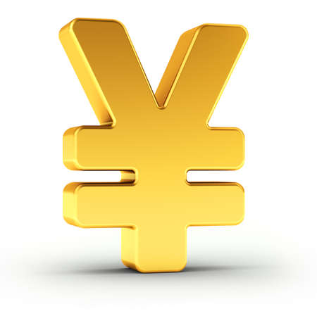 japanese currency: The Yen symbol as a polished golden object over white background with clipping path for quick and accurate isolation.