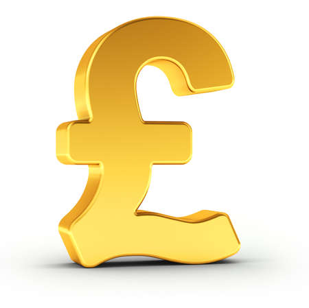 british pound: The British Pound symbol as a polished golden object over white background with clipping path for quick and accurate isolation. Stock Photo