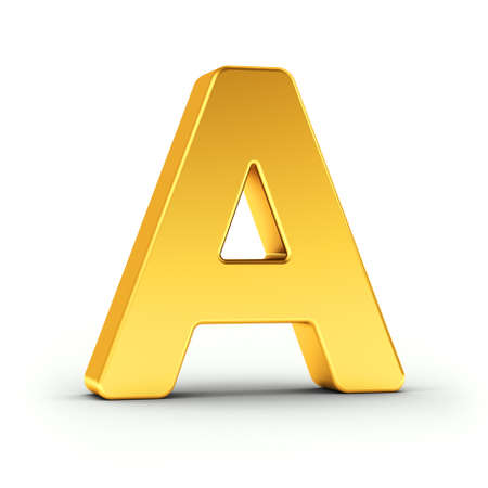 polished: The Letter A as a polished golden object over white background with clipping path for quick and accurate isolation.