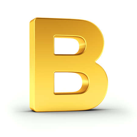 polished: The Letter B as a polished golden object over white background with clipping path for quick and accurate isolation.
