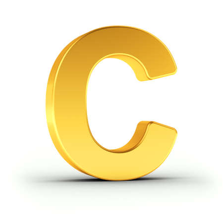 polished: The Letter C as a polished golden object over white background with clipping path for quick and accurate isolation.