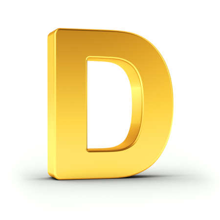 object: The Letter D as a polished golden object over white background with clipping path for quick and accurate isolation. Stock Photo