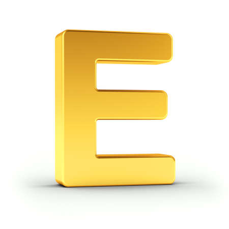 e white: The Letter E as a polished golden object over white background with clipping path for quick and accurate isolation. Stock Photo