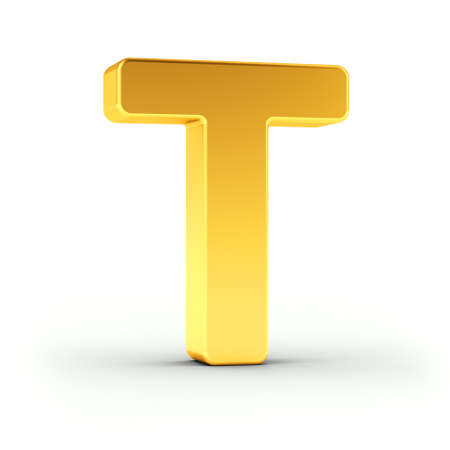 polished: The Letter T as a polished golden object over white background with clipping path for quick and accurate isolation.