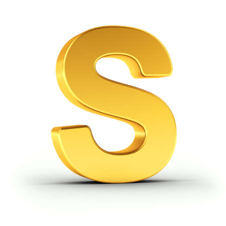 polished: The Letter S as a polished golden object over white background with clipping path for quick and accurate isolation.