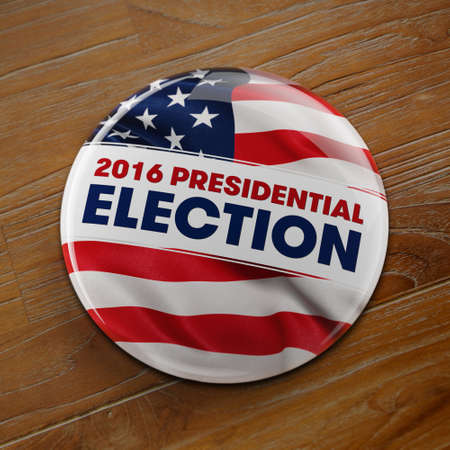 3D illustration of a political button for the US presidential election in 2016 on wooden surface.