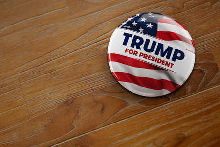 donald: WASHINGTON, DC - APRIL 10, 2016: Illustration of presidential campaign button of Donald Trump running for the presidents office. Editorial
