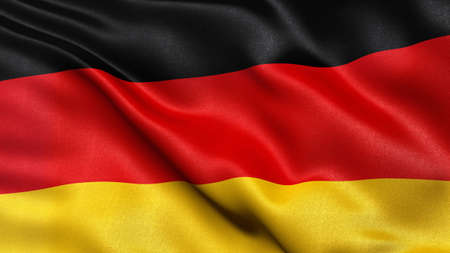 german flag: Beautiful 3D illustration of the German flag waving in the wind.