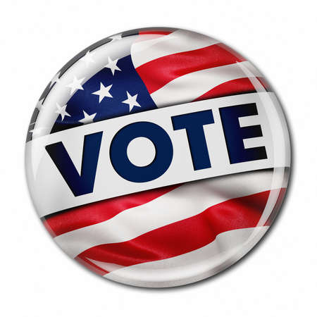 elect: Photorealistic 3D render of a vote button with the American flag over white background Stock Photo