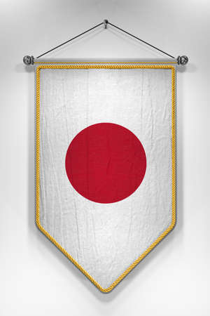 japanese flag: Pennant with Japanese flag. 3D illustration with highly detailed texture.