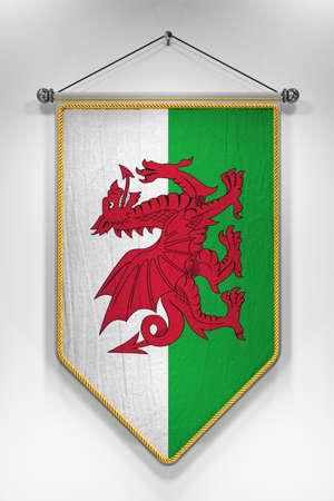 bandera: Banderín con la bandera Galés. Ilustración 3D con textura muy detallada. Foto de archivo