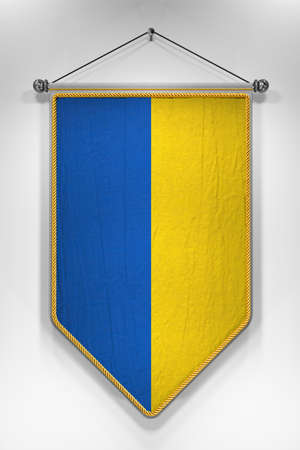 pennon: Pennant with Ukrainian flag. 3D illustration with highly detailed texture.