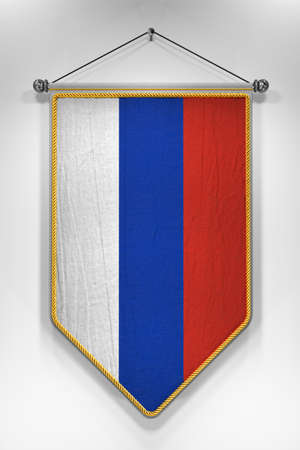 russian flag: Pennant with Russian flag. 3D illustration with highly detailed texture.