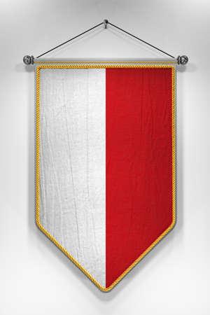 bandera de polonia: Banderín con la bandera polaca. Ilustración 3D con textura muy detallada. Foto de archivo