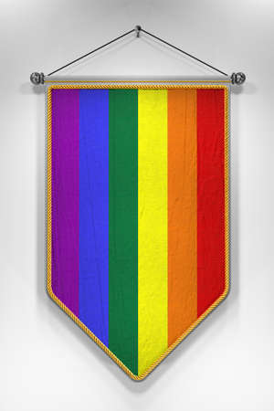 civil partnership: Pennant with Rainbow flag. 3D illustration with highly detailed texture.