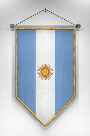 argentinian flag: Pennant with Argentinian flag. 3D illustration with highly detailed texture.