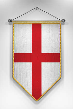 bandera inglesa: Pennant with English flag. 3D illustration with highly detailed texture.
