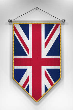 pennant: Pennant with UK flag. 3D illustration with highly detailed texture.