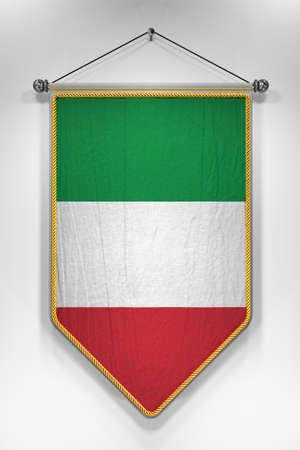 Wimpel met de Italiaanse vlag. 3D illustratie met zeer gedetailleerde textuur. Stockfoto