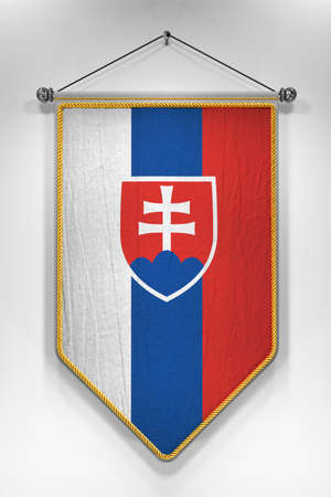 pennant: Pennant with Slovakian flag. 3D illustration with highly detailed texture.