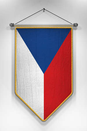pennon: Pennant with Czech flag. 3D illustration with highly detailed texture.