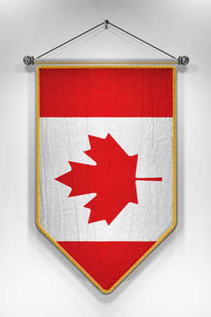canadian flag: Pennant with Canadian flag. 3D illustration with highly detailed texture. Stock Photo