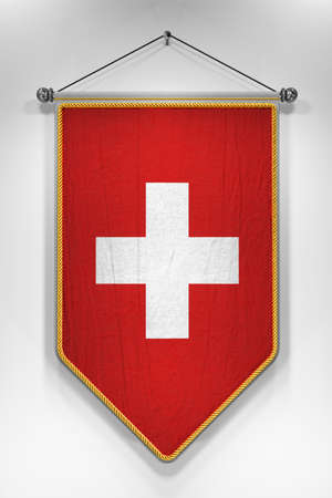 swiss insignia: Pennant with Swiss flag. 3D illustration with highly detailed texture. Stock Photo