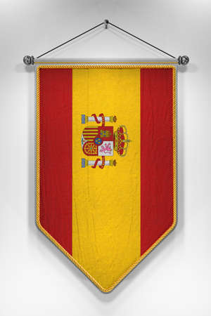 pennon: Pennant with Spanish flag. 3D illustration with highly detailed texture.