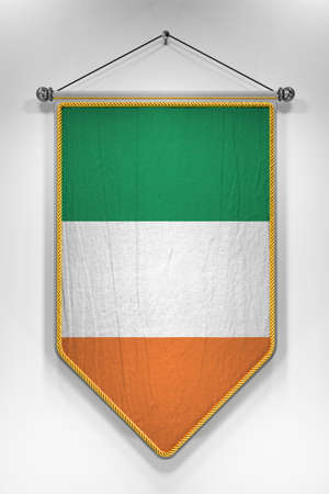 irish flag: Pennant with Irish flag. 3D illustration with highly detailed texture.