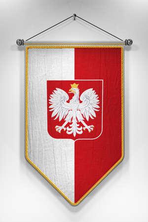 bandera de polonia: Banderín con la bandera de Polonia y su escudo de armas. Ilustración 3D con textura muy detallada.