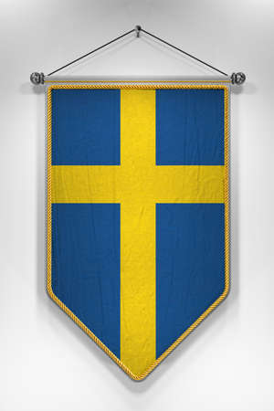 swedish: Pennant with Swedish flag. 3D illustration with highly detailed texture.