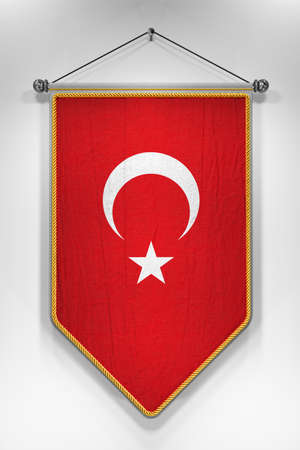 turkish flag: Pennant with Turkish flag. 3D illustration with highly detailed texture.