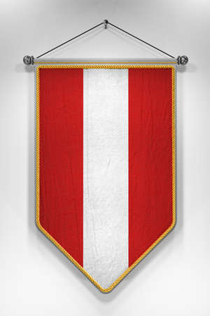 pennon: Pennant with Austrian flag. 3D illustration with highly detailed texture.